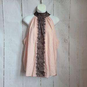 7th Avenue NY & company pink black lace halter top